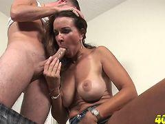 Mature babe sucks off cock then fucks it