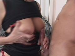 Hot granny enjoying a hard pounding in her cunt