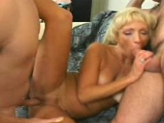 Slim nicely tanned granny hornily sucking and fucking meaty cocks