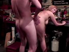 Mature bitch bending over to have her pussy rammed from behind