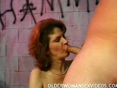 Mature hot babe getting fucked by two hot studs