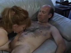 Sexy mature blonde babe sucking cock on couch