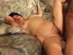 Fat bellied dark-haired gramps gets high from the heavy pounding