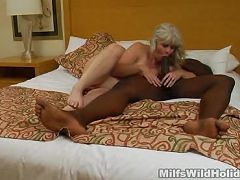 Matured milf Stacey showing off her awesome blowjob to a well endowed black guy she just met