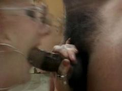 Hot GILF enjoying a mouthful of thick jizz