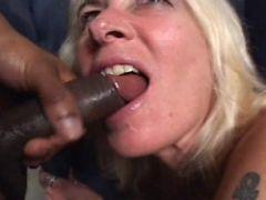 Gorgeous blonde MILF enjoying some black meat