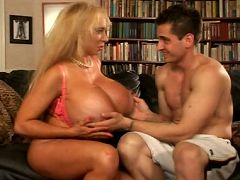 Watch this lucky stud satisfy MILF Echo Valley by licking her huge jugs which are as big as his head