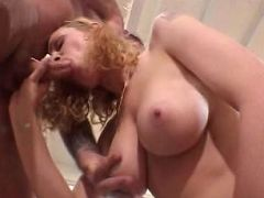 Blonde MILF with huge boobies hardening and sucking meaty crotch