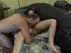 Hot mature mama enjoying a huge cock in her shaven cunny.