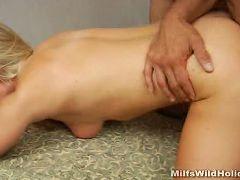 Lusty blonde MILF enjoying a deep cock piercing