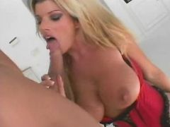 Blonde milf Krystal Summers sucking off a huge dick and humping it on top to take it in her snatch