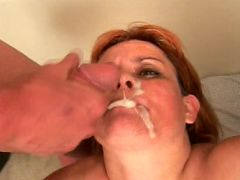Chubby granny Fritz desserts on sweet and sticky cum after sucking two throbbing cocks