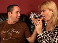 Naughty milf Lynn Lemay seduces a younger guy by showing off her enormous knockers