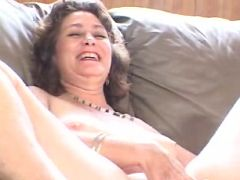 Mature Granny Posing and Fingering Hairy Snatch
