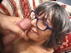 Lusty granny enjoying a deep cunt spooning