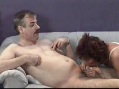 Redhead matured momma getting preoccupied from sucking her lover's cock