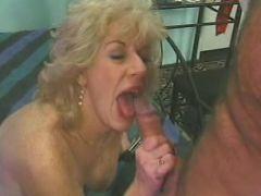Wild blonde grandma licking and sucking long meaty erected penis