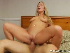 Blonde milf Zia takes a huge cock in her pussy then gets her belly and tits jizzed