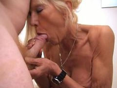 Skinny mature lady Kay wears a sexy lingerie while getting hardcore fucked live