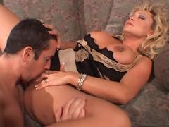 Busty MILF Milan Summer sucks a huge cock all the way down her throat before giving it an awesome fuck