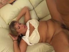 Horny older blonde stuffing her mouth with huge hard dick