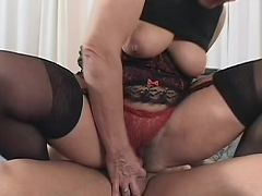 Mature woman Jozsefne plays with her own boobs while getting fucked sideways live