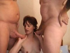 Pretty granny Eva teases her man pulling out his dick then giving it an awesome suck