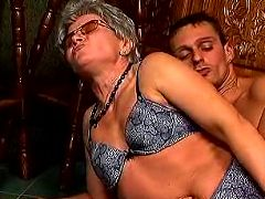 Slutty granny fucking with her panties on in a bar